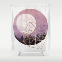 the moon Shower Curtains featuring moon by Laura Graves