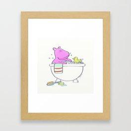 Bath Time Hippo illustration for the bathroom or nursery art Framed Art Print