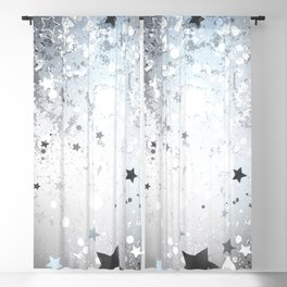 Silver Background with Stars Blackout Curtain