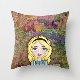 Alice in Wonderland ~ Never Lose Your Sense of Wonder Throw Pillow