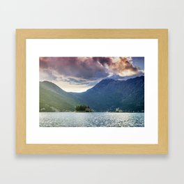 Sunset over Bay of Kotor Framed Art Print