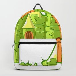 A Cute Greeny Cactus Plant Tee For You With An Illustration A Big Castle T-shirt Design Princess Backpack