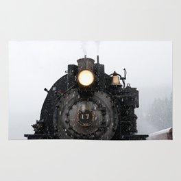 steam train in winter Rug