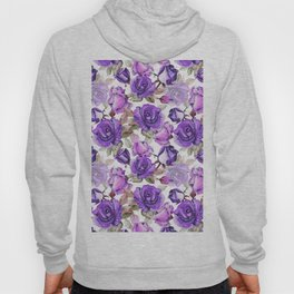 Violet lilac pink watercolor botanical roses floral Hoody
