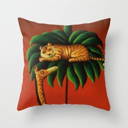 African American Masterpiece 'Restful Summer Night on the Serengeti' by O. Bulman Throw Pillow