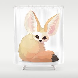 cute fennec foxes. Vector graphic character Shower Curtain