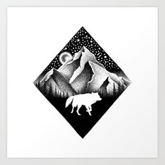 THE LONELY WOLF Art Print
