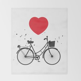black bicycle silhouette and red heart on white background Throw Blanket