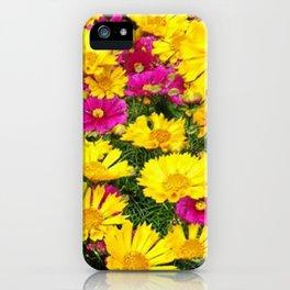 YELLOW COREOPSIS & FUCHSIA GARDEN FLOWERS iPhone Case