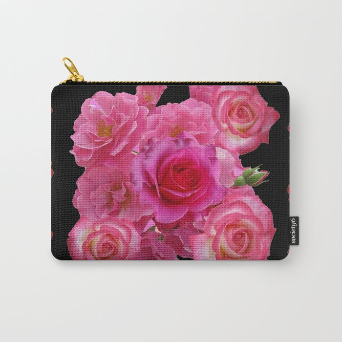 RED & PINK ROSES BLACK VIGNETTE ART  PATTERN Carry-All Pouch