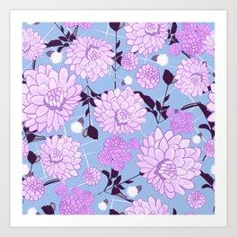 Soft calming lilac spring florals design Art Print