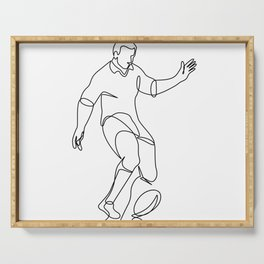 Rugby Player Kicking Ball Continuous Line Serving Tray