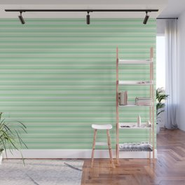 Linen Off White Horizontal Line Pattern 2 on Pastel Green Pairs to 2020 Color of the Year Neo Mint Wall Mural
