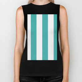 Wide Vertical Stripes - White and Verdigris Biker Tank