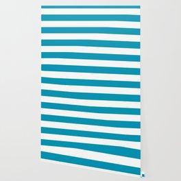 Nicole and Bri Blue - solid color - white stripes pattern Wallpaper