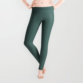 Dark Hue - Deep Summer Forest Green Solid Color Parable to Valspar Shady Palm 5003-6C Leggings