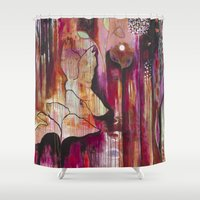 "flora bowley Shower Curtains featuring ""Kiss"" Original Painting by Flora Bowley by Flora Bowley"