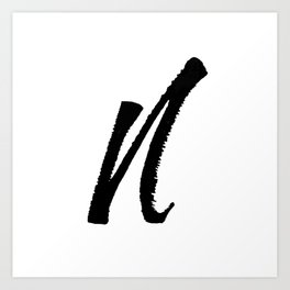 Letter N Ink Monogram Art Print