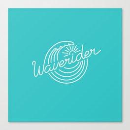 Waverider - white on teal Canvas Print