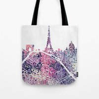 paris map Tote Bags featuring Paris Skyline + Map #1 by Map Map Maps