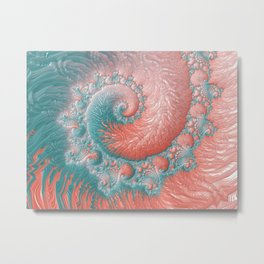 Living Coral Teal Blue Spiral Swirl Pattern Abstract Coral Reef Fractal Metal Print