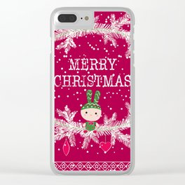 Christmas. Crimson background. Clear iPhone Case
