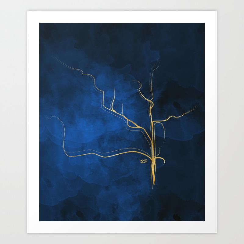 Kintsugi electric blue blue gold kintsugi japan marble watercolor abstract art print
