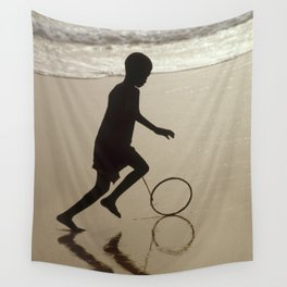 Silhouette on an African Beach. Wall Tapestry