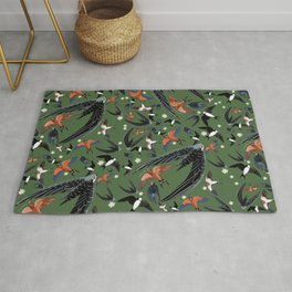 Swallows Martins and Swift pattern green Rug