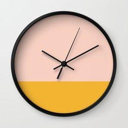 Millennial Pink and Mustard Yellow Minimalist Color Block Wall Clock
