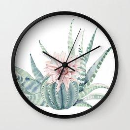 Petite Cactus Echeveria Wall Clock