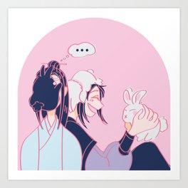 Lan Zhan & Wei Ying & Bunnies Art Print
