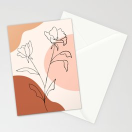 Poppies line drawing Stationery Cards