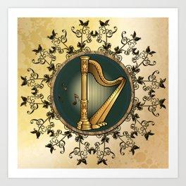 Golden harp Art Print