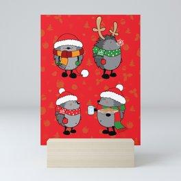 Christmas hedgehogs Mini Art Print