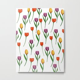 Watercolor Tulip Pattern Metal Print