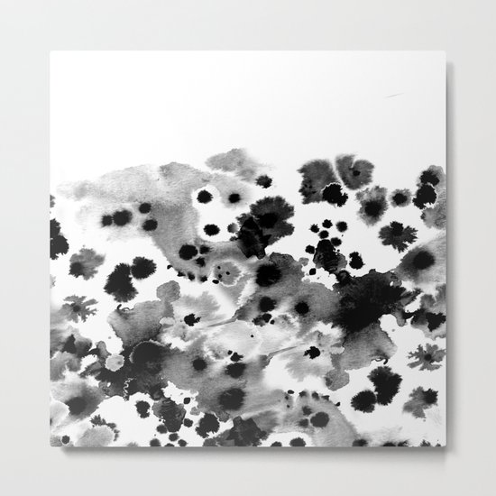 Rania - abstract black and white minimal scandi painting pattern ink Metal Print