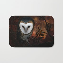 Barn owl at night Bath Mat
