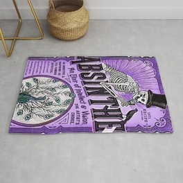 Vintage 1871 Purple Absinthe Liquor Skeleton Elixir Aperitif Cocktail Alcohol Advertisement Poster Rug