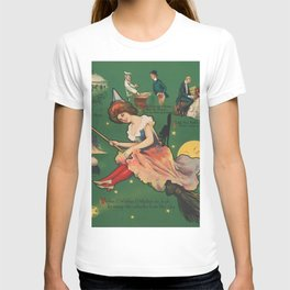 Vintage Witch on a Broomstick Illustration T-shirt