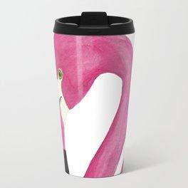 Pink Flamingo Watercolor Painting Travel Mug