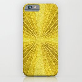 Gold geometry abstract glitter, sun rays geometric shapes iPhone Case