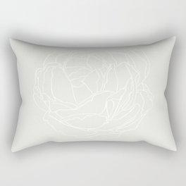 White Line Art Rose Rectangular Pillow