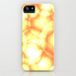 Gentle intersecting golden translucent circles in pastel colors with glow. iPhone Case