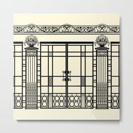 ART DECO, ART NOUVEAU IRONWORK: Black and Cream Metal Print