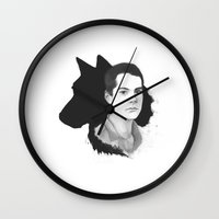 teen wolf Wall Clocks featuring Stiles Teen Wolf Portrait by Kjerstin A