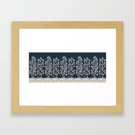 Citrus Grove Chinoiserie Mural - Navy Framed Art Print