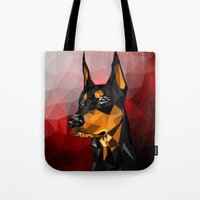 doberman Tote Bags featuring Doberman by Ruveyda & Emre