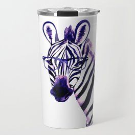 Zebra with glasses, purple Travel Mug