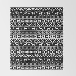 Jack Russell Terrier fair isle christmas sweater dog breed pattern holidays black and white Throw Blanket